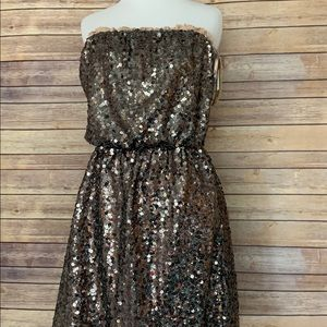 DKNY Gold Sequin Strapless Dress